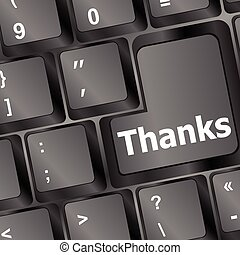 a thanks message on enter key of keyboard vector illustration