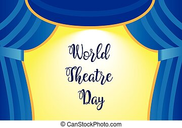 A theater stage with a blue curtain