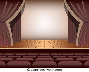 A theater stage with a curtain and seats.