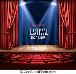 A theater stage with a red curtain and a spotlight. Festival...
