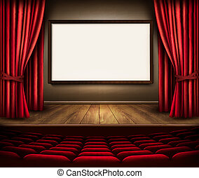 A theater stage with a red curtain, seats and a project board. V
