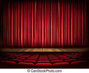 A theater stage with a red curtain, seats. Vector.
