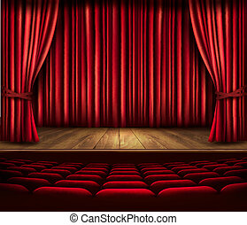 A theater stage with a red curtain, seats and a spotlight....