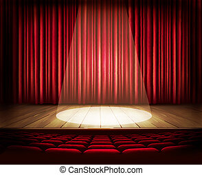 A theater stage with a red curtain, seats and a spotlight. ...