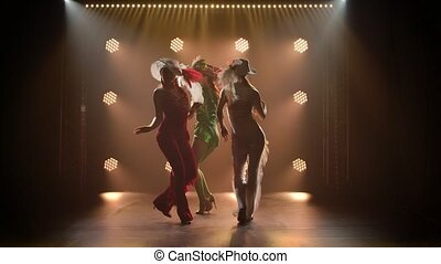 A theatrical performance of three slender graceful ladies in chic stage costumes. Silhouettes of women dancing on a smoky studio background. Slow motion