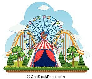 A Theme Park on White Background