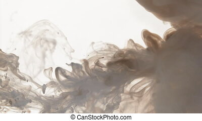 A thick gray-brown smoke moves from the left, creates swirls...