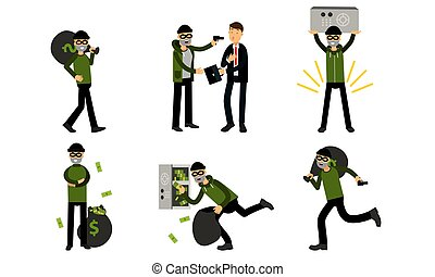 A thief is robbing a businessman with a briefcase. Vector Illustration Set Of Cartoon Burglar Character Isolated On White Background