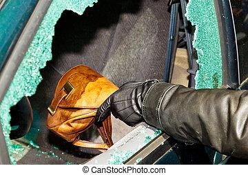 a thief stole a purse from car