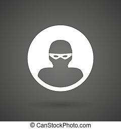 a thief white icon on a dark background