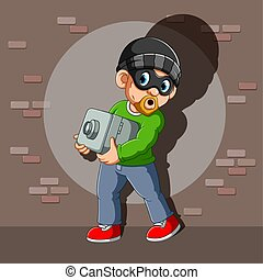A thief who has stolen safe deposit box in his hands of illustration