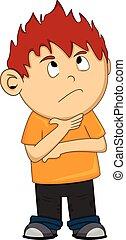 A thinking boy cartoon - full color