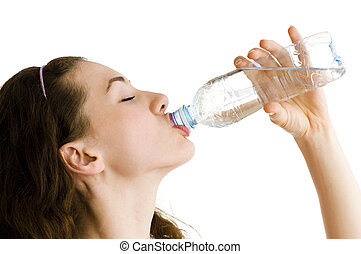 a thirsty girl drinking cold pure water