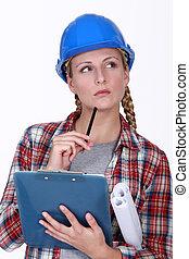 A thoughtful tradeswoman