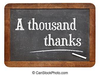A thousand thanks on blackboard - A thousand thanks. Text on...