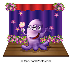 A three-eyed purple monster at the center of the stage