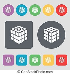 A three sided cube puzzle box in 3D icon sign. A set of 12 colored buttons. Flat design. Vector