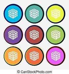 A three sided cube puzzle box in 3D icon sign. Nine multi colored round buttons. Vector