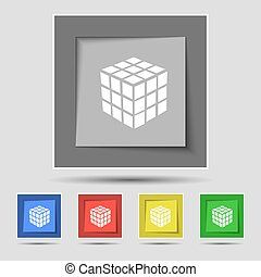 A three sided cube puzzle box in 3D icon sign on original five colored buttons. Vector
