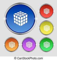 A three sided cube puzzle box in 3D icon sign. Round symbol on bright colourful buttons. Vector