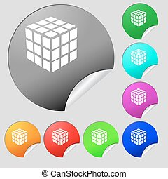 A three sided cube puzzle box in 3D icon sign. Set of eight multi colored round buttons, stickers. Vector
