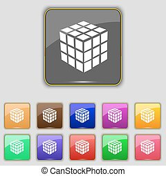 A three sided cube puzzle box in 3D icon sign. Set with eleven colored buttons for your site. Vector