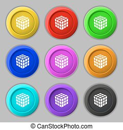 A three sided cube puzzle box in 3D icon sign. symbol on nine round colourful buttons. Vector