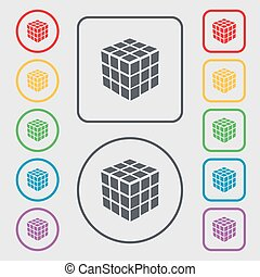 A three sided cube puzzle box in 3D icon sign. symbol on the Round and square buttons with frame. Vector