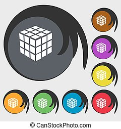 A three sided cube puzzle box in 3D icon. Symbols on eight colored buttons. Vector
