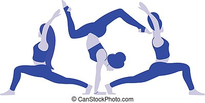 A three young flexible ladies in position yoga pose Indian East Asana