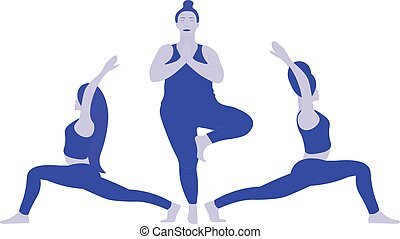 A three young ladies various weight in position yoga pose Indian East Asana