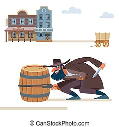 A thug with a dark beard and a snide smile with a rifle and a dagger sneaks up on the victim. The Old Wild West. Cartoon vector illustration. Flat style. Isolated on white background