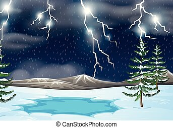A thunderstorm nature background illustration