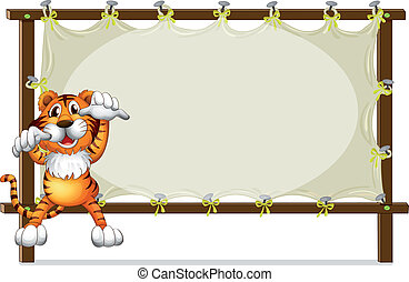 A tiger attempting to jump - Illustration of a tiger...