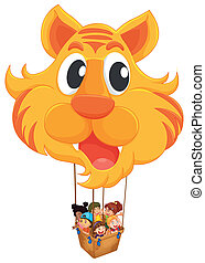A tiger balloon with a basket full of kids