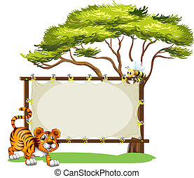 A tiger beside the empty signage