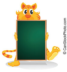 A tiger holding an empty board