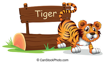 A tiger in a jumping position - Illustration of a tiger in a...
