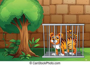 A tiger inside a steel cage - Illustration of a tiger inside...