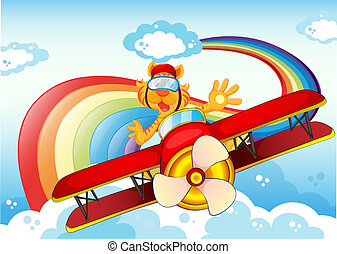 Illustration of a tiger on a plane near the rainbow
