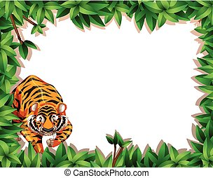 A tiger on nature frame