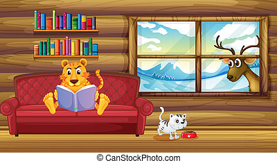 A tiger reading a book inside the house
