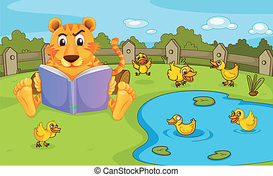 A tiger reading beside a pond with ducklings
