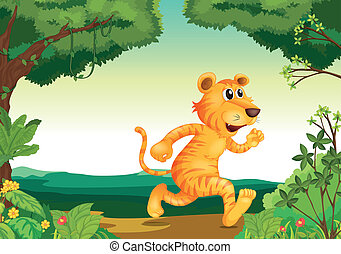 A tiger running along the forest