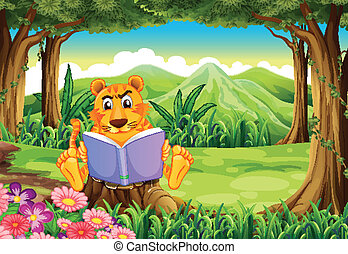 A tiger sitting above the stump while reading