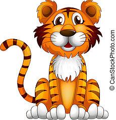 A tiger sitting down
