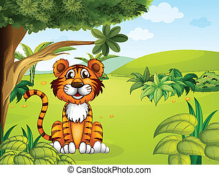 A tiger sitting near the tree