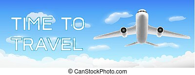 A time to travel with airplane flying over cloud