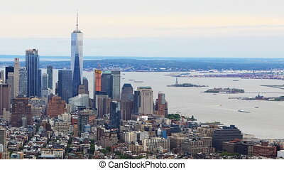 Timelapse aerial of downtown Manhattan