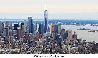 A Timelapse aerial of lower Manhattan